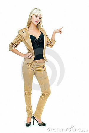 Lady in gold suit