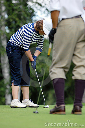 Lady Golfers Swing at Moscow s Country Club Editorial Photography
