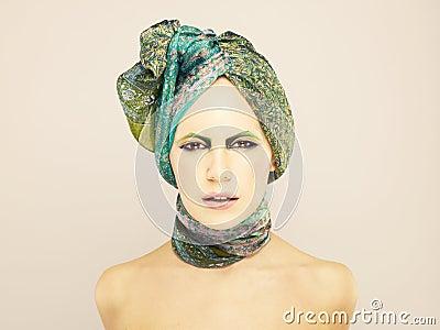 Lady in green turban