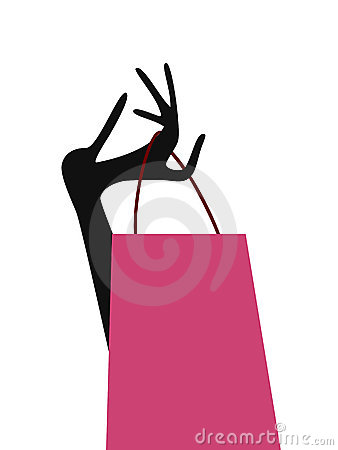 Lady hand with shopping bag
