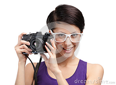 Lady hands professional photographic camera