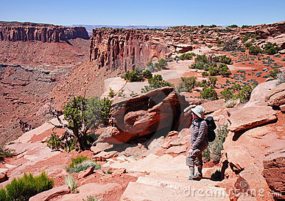 Lady Hiker looking over Canyonlands