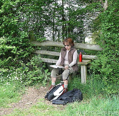 Lady Hiker reading a Map