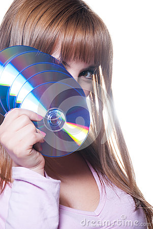 Free Lady Holding A Cd Or Dvd, Isolated On White Stock Image - 61149301