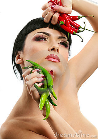 Lady holding rhot chilli peppers