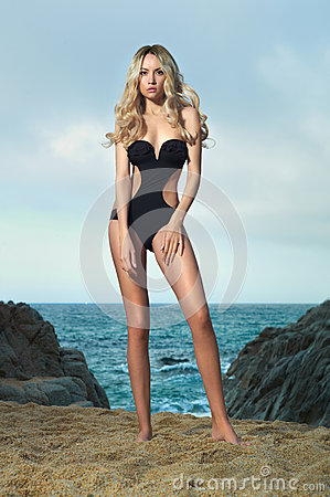 Free Lady In Black Swimsuit On Seashore Stock Photo - 43400680