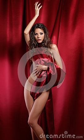 Free Lady In Red Textile Royalty Free Stock Image - 24865736