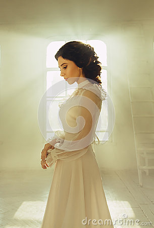 Free Lady In White Vintage Stock Photo - 68800310