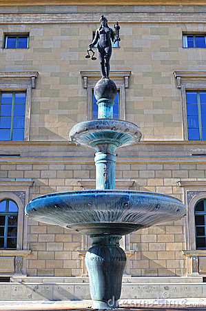 Lady justice fountain architecture in Munich