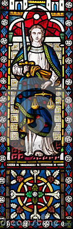 Free Lady Justice Stained Glass Window Royalty Free Stock Photography - 48105327