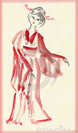 The lady in kimono dancing