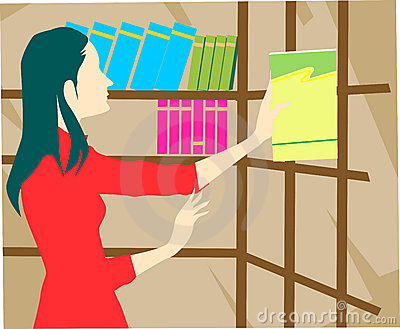 Lady in library