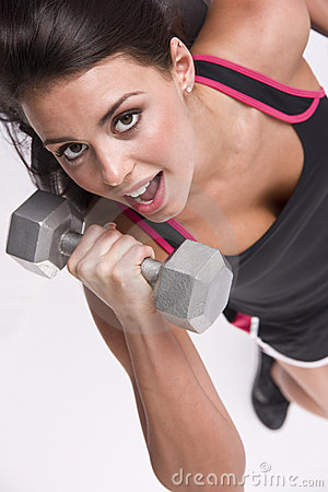 Lifting Vertical Barbell Ten Pounds Gym Fitness