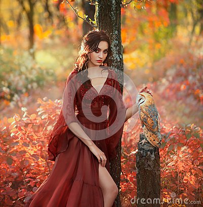 Lady in a long light summer red burgundy dress with an open leg, and barn owl Stock Photo