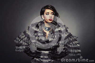 Lady in luxurious fur coat