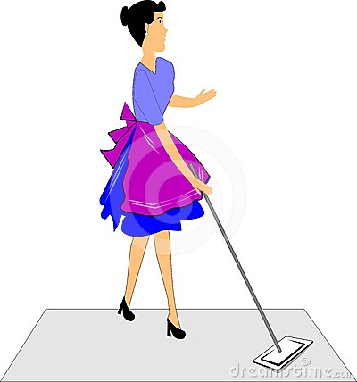 Lady mopping the floor
