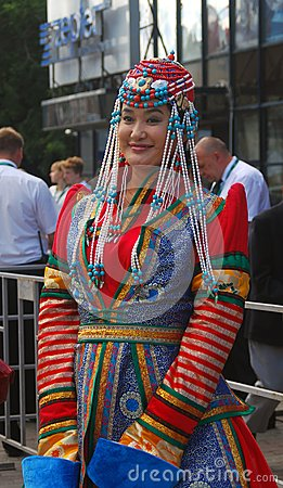 Lady in national costume at Moscow Film Festival Editorial Stock Photo