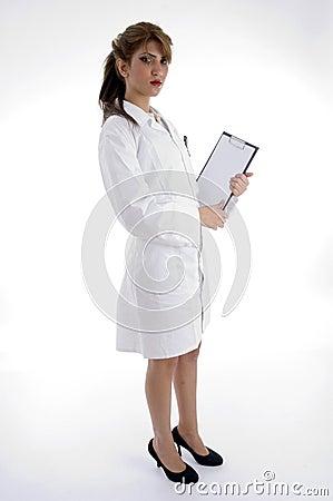 Lady nurse with writing pad
