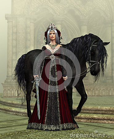 Free Lady Of The Castle With Black Horse, 3d CG Stock Photos - 51245203