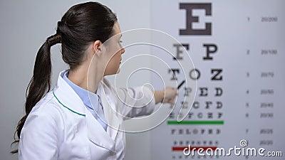 Lady oftalmolog nöjd med resultaten från ögonundersökningar, god syn lager videofilmer