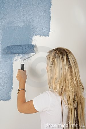 Lady Painting House