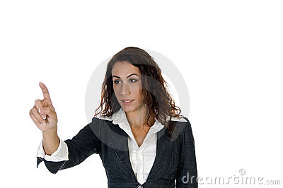 Lady pointing out something