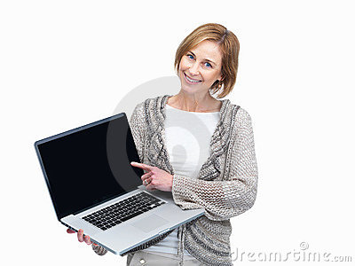 Lady pointing to a laptop screen over white backgr