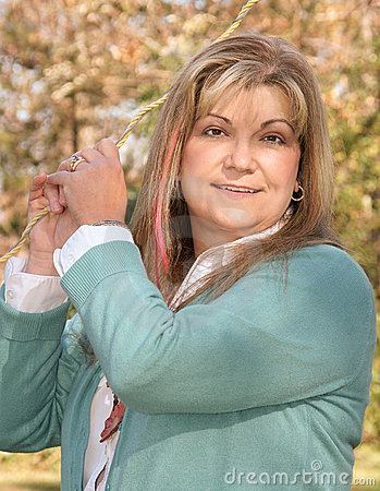Lady poses holding onto guidewire