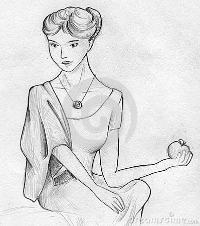Lady posing with apple