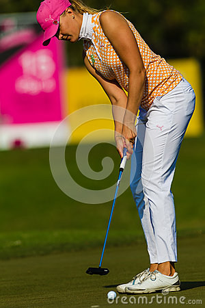 Lady Pro Golfer Putting Colors Editorial Photo