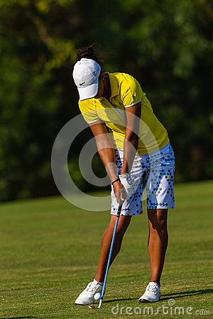 Lady Pro Golfer Strike Ball  Editorial Photography