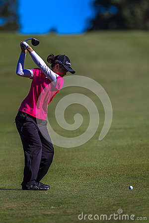 Lady Pro Golfer Top Swing  Editorial Photography