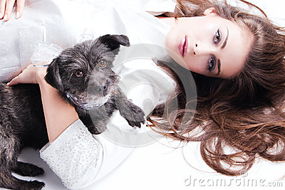 Lady and puppy