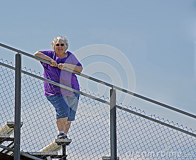 Lady on the rail