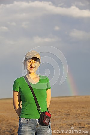 Lady and rainbow