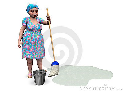 Lady ready to mop the floor.
