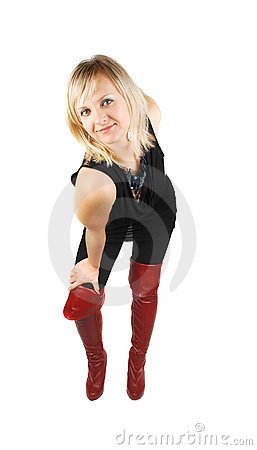 Lady in red boots dancing