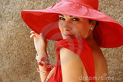 The lady in red with fantastic hat