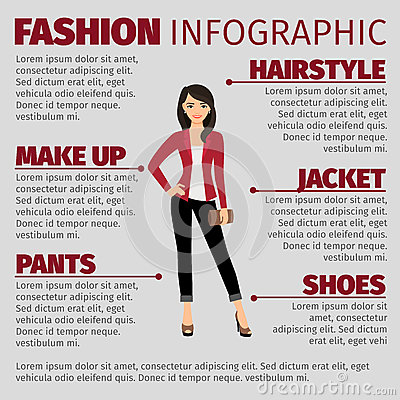 Lady in red jacket fashion infographic Vector Illustration