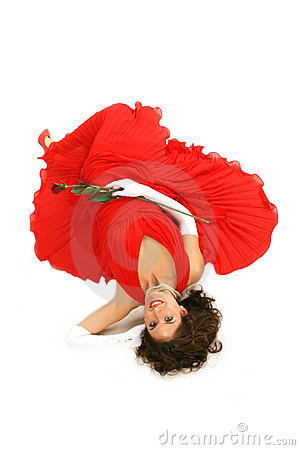 Lady in red laying down