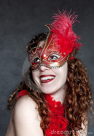 Lady in a red mask