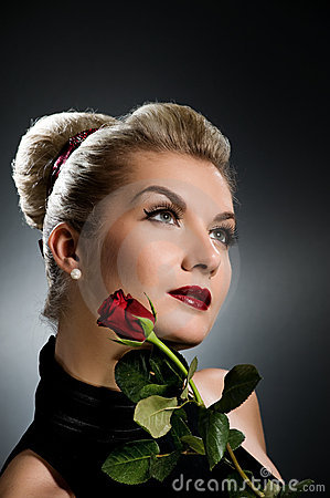Lady with red rose
