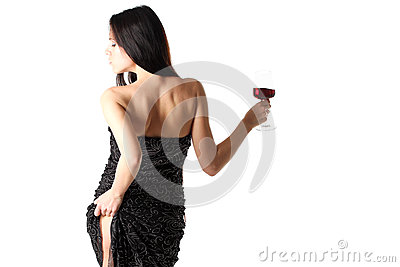 Lady with a red wine glass