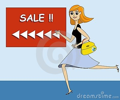 Lady Running Towards a Sale