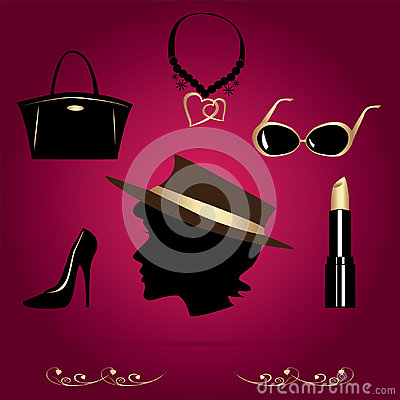 Lady's accessories Vector Illustration