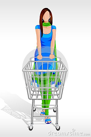 Lady in Salwar Suit with Shopping Cart