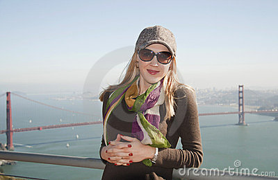 Lady in San Francisco with Golden Gate Brid