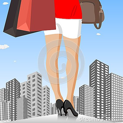 Lady with Shopping Bag in City