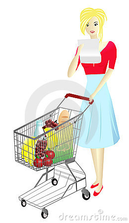 Lady with Shopping cart, vectorial