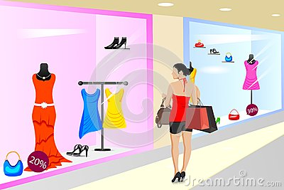 Lady shopping in Store